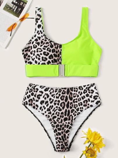 Neon Lime Buckle Top With High Waist Bikini 0dcca7895