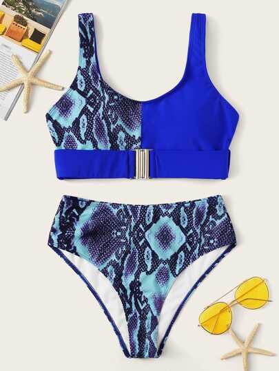 4739f7cfe28359 Snake Skin Print Buckle Front Top With High Waist Bikini
