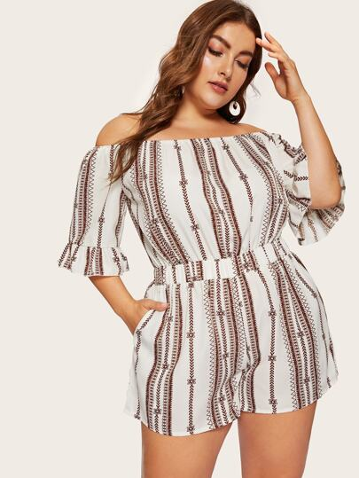 3ccc082c0b Plus Off The Shoulder Embroidery Romper