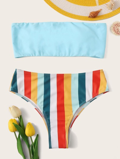 80a2730b5133f Bandeau With Striped Bikini Set