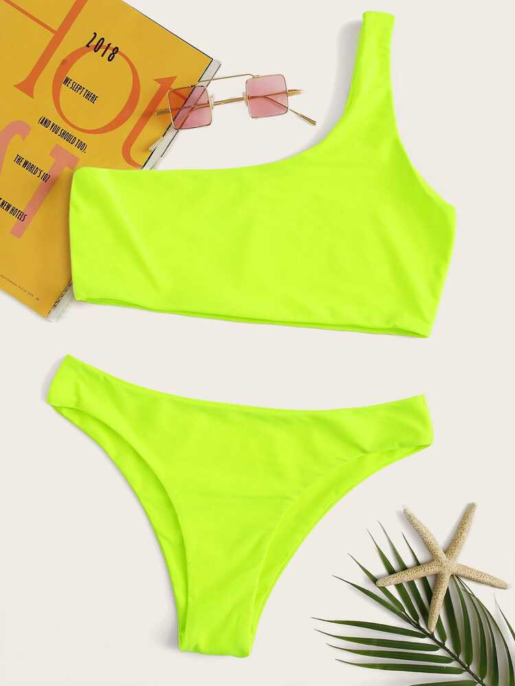 bf24c554bba57 Neon Lime One Shoulder Top With Panty Bikini Set | SHEIN