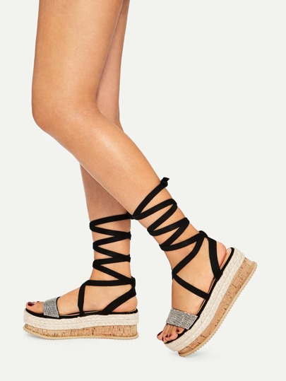 05abcd530621 Open Toe Tie Leg Wedge Heels