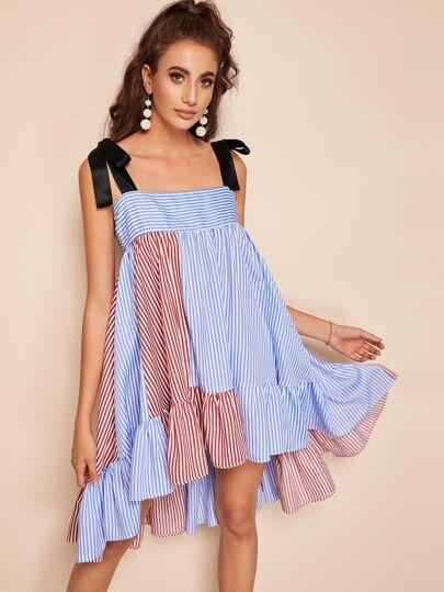 f66a11eb3a Self Tie Shoulder Colorblock Dip Hem Striped Dress
