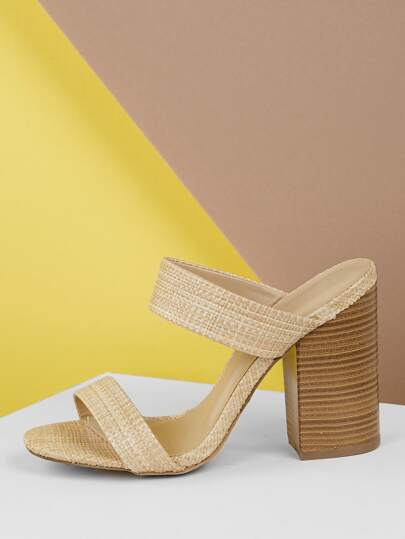 4e25431cd45d2 Raffia Woven Double Band Stacked Heel Sandals