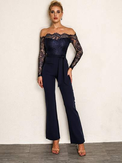 ad02261d1da Joyfunear Eyelash Lace Overlay Self Belted Bardot Jumpsuit