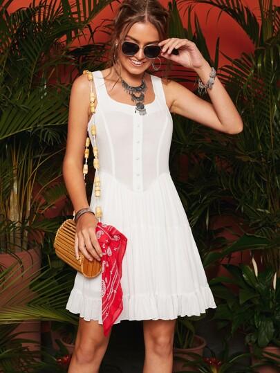 1531e186b1c Button Front Ruffle Hem Solid Dress