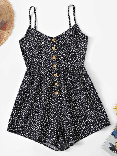 b0ac37db47c6 Ditsy Floral Button Front Cami Romper