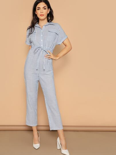 aa90fdffe38e Flap Pocket Front Drawstring Waist Shirt Jumpsuit