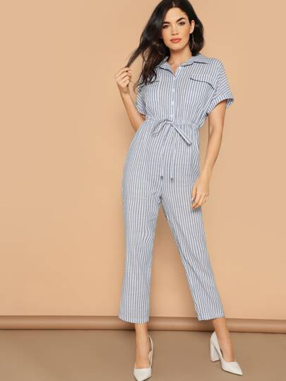 d43023e0fb Flap Pocket Front Drawstring Waist Shirt Jumpsuit