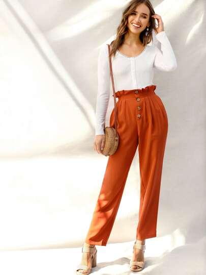 Pantalon boutonné avec taille plissée 8ad16c58e2a
