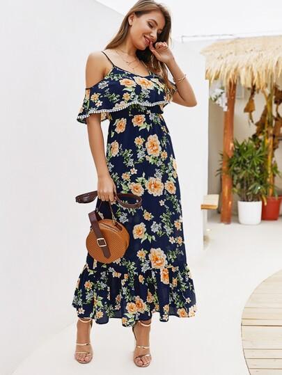 2764d0f4d5 Floral Print Cold-shoulder Pom Pom Detail Cami Dress