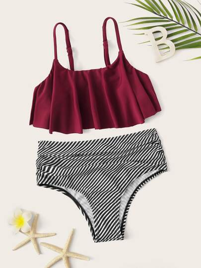 724b87ae00588 Girls Flounce Top With Ruched Bikini