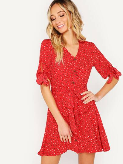 Knot Cuff Button Up Ditsy Floral Belted Dress 361a6dae8