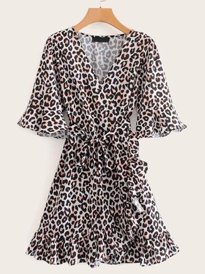 8ecceeddf94 Flounce Sleeve Wrap Ruffle Belt Leopard Dress
