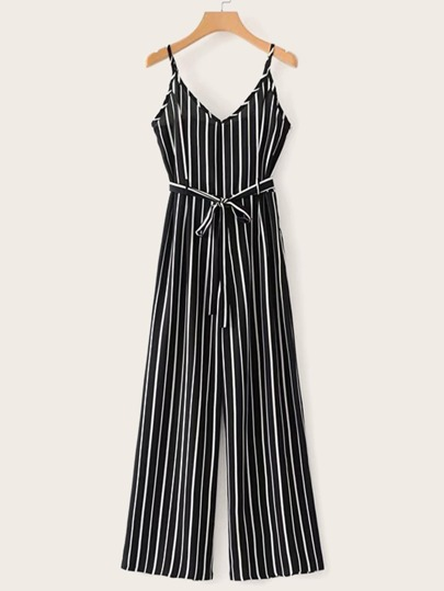 9455bf41cb4 Self Tie Striped Cami Jumpsuit