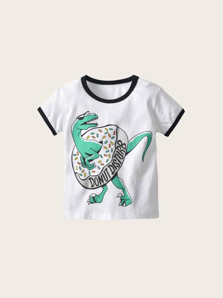 aa18b201 Toddler Boys Dinosaur & Donut Ringer Tee | SHEIN