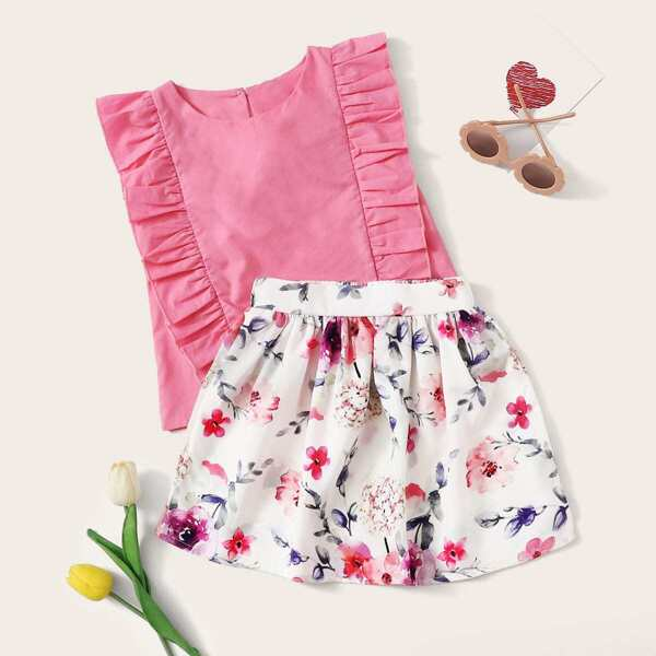 Toddler Girls Ruffle Trim Tank Top With Floral Print Skirt