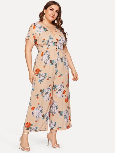 a5ccfef9226 Plus Deep V-neck Floral Print Jumpsuit