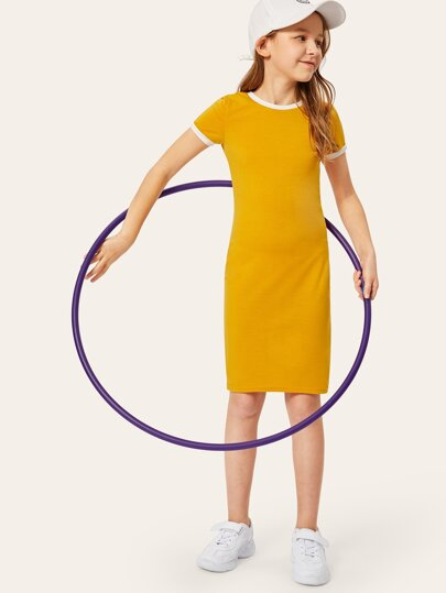 7fbb66c1380 Girls Short Sleeve Ringer Dress