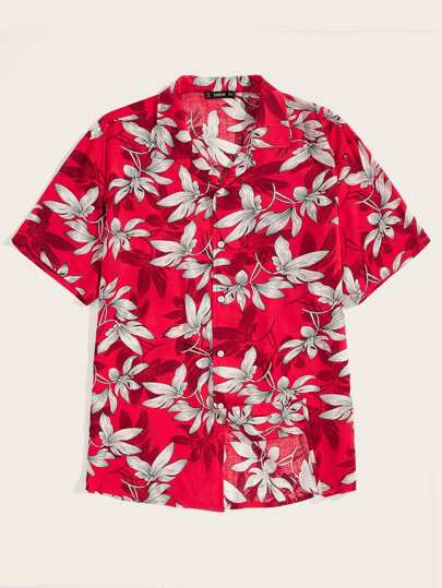 d990d0cd35 Men Floral Print Button Up Shirt