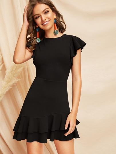 5974dd931c88 V-Back Layered Ruffle Hem Flutter Sleeve Dress