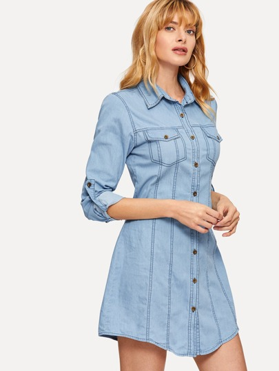 9bdba95b63a Roll Tab Sleeve Denim Shirt Dress