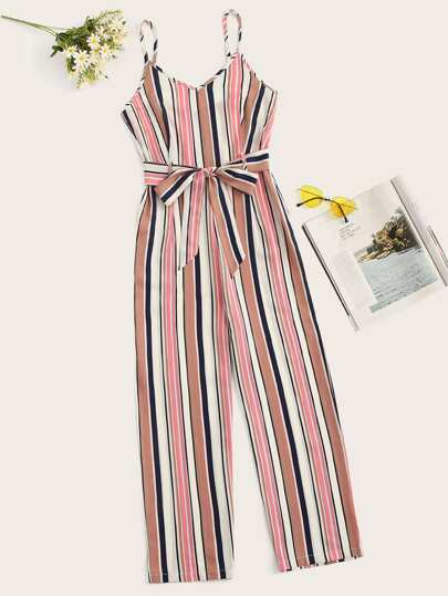 d810d0fe6a9 Striped Belted Cami Jumpsuit