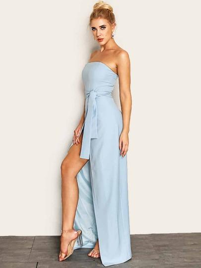 Joyfunear Knot Waist Wrap Split Front Tube Dress 0f7e9d100