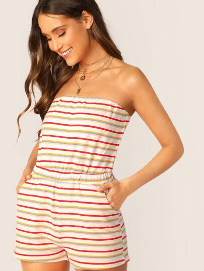 c448891750 Cheap Strapless Side Pockets Striped Terry Knit Romper for sale Australia