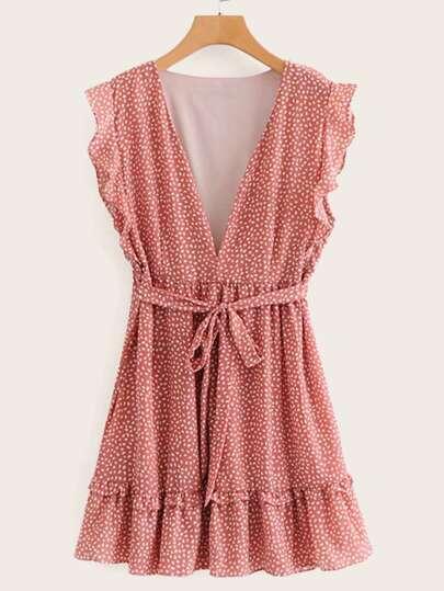 Self Tie Dalmatian Print Ruffle Dress 92df24f6c