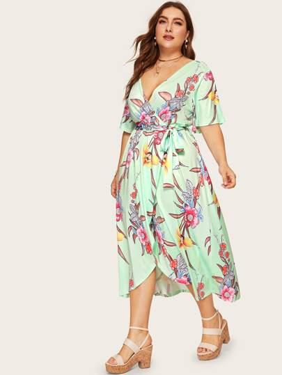 deeaf9fb5a2 Plus Floral Print Wrap Tie Side Dress