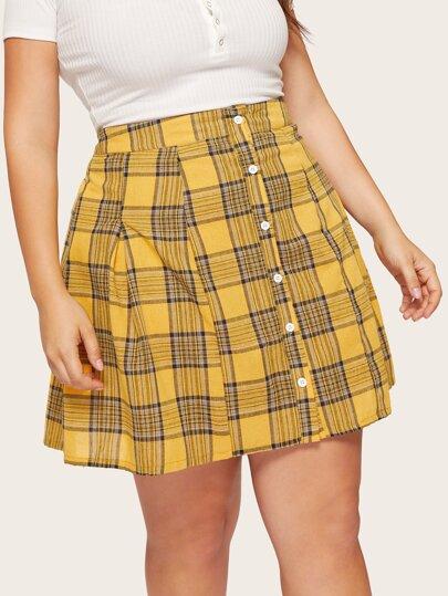 3e420a5b269 Plus Plaid Button Skirt