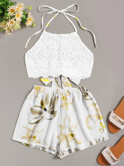 7b7bf821c8 Knot Back Halter Lace Top With Floral Print Shorts