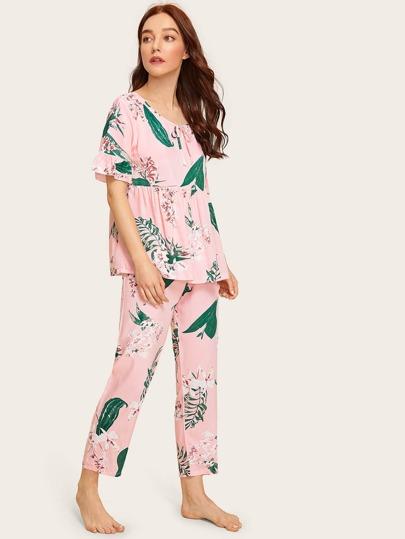99a7c7aee0 Floral   Leaf Print Ruffle Pajama Set