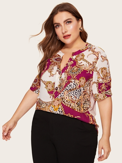 1aaa2483aa Plus Buttoned V-placket Scarf Print Curved Hem Blouse