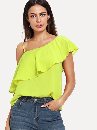 5aaa7597d33d26 Neon Lime One Shoulder Flounce Top