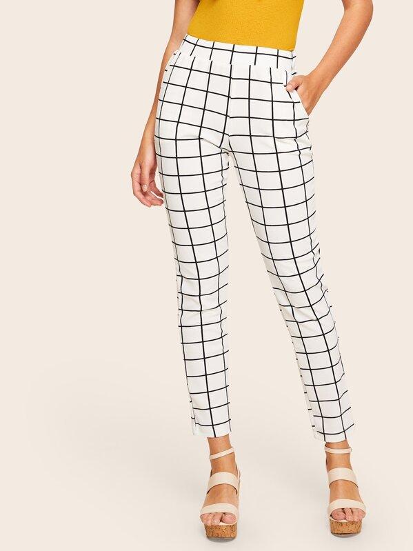 Pantalones de cuadros con bolsillo oblicuo de cintura ancha  05475da2fe0
