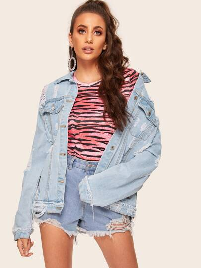dc9839a16ec Bleach Wash Ripped Denim Jacket