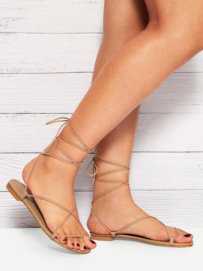 13edfd42d034 Criss Cross   Lace-up Flat Sandals