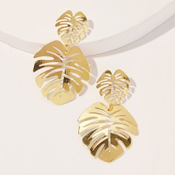 Double Leaf Shaped Drop Earrings 1pair, Gold