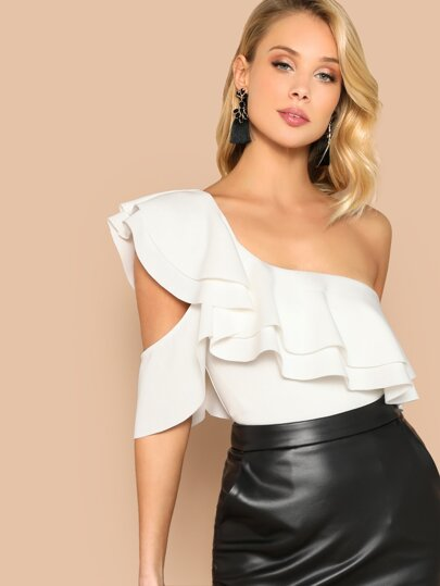 Layered Ruffle One Shoulder Bodysuit 18359d5b7