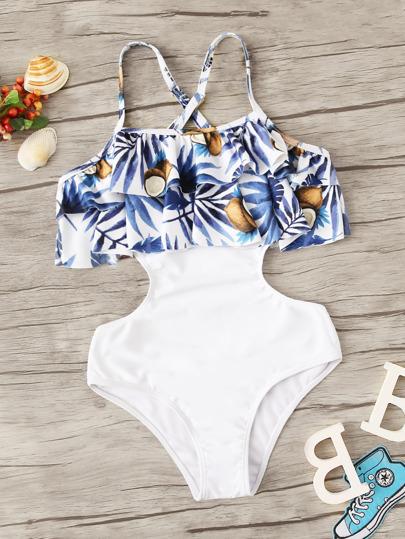 4f054a758a1cf Girls Random Tropical Cutout Side Flounce Monokini