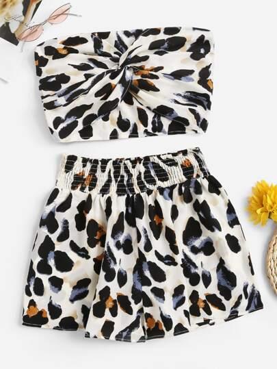 Leopard Print Twist Front Crop Bandeau With Shorts c6c710c43
