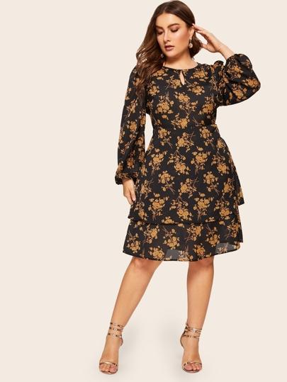 47316b9317b Plus Botanical Print Layered Dress