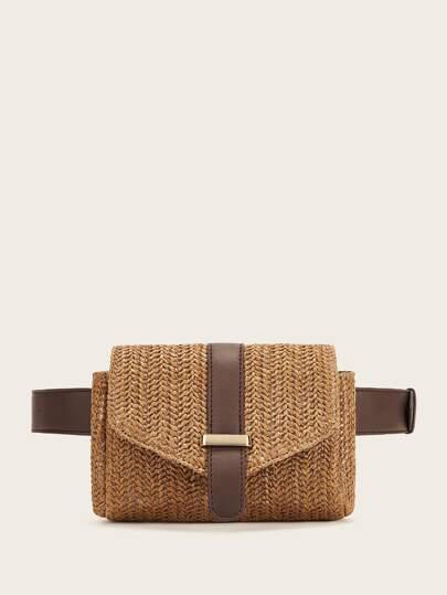 da8bb12a8a81 Straw Detail Flap Fanny Pack