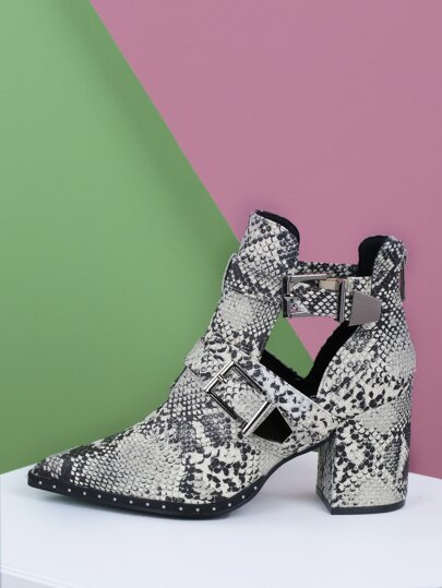c683f136072 Double Buckle Cut Out Snake Chunky Heel Booties