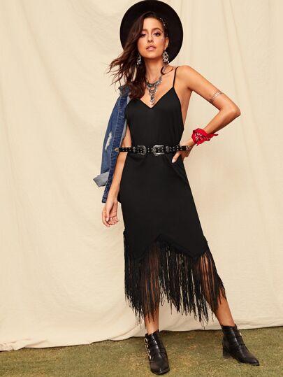 edf3d042c2 Contrast Fringe Hem Cami Dress