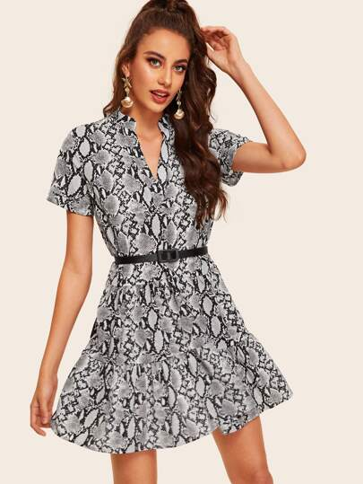1ef25d6a7d4a Snake Print V-neck Ruffle Hem Belted Dress
