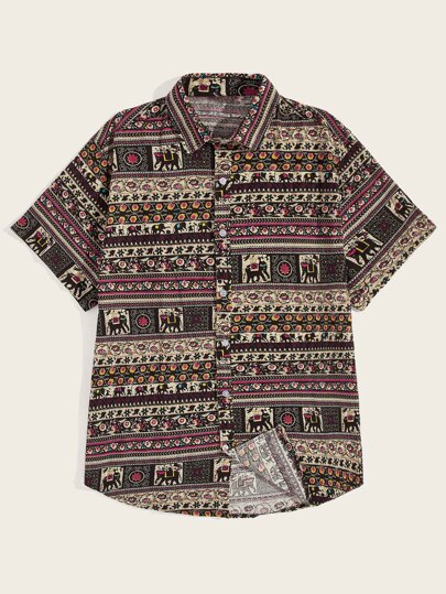 b085a9b221c1bf Men Tribal Print Curved Hem Shirt