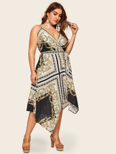 Plus Baroque Print Wrap Cami Dress 88a2a787c